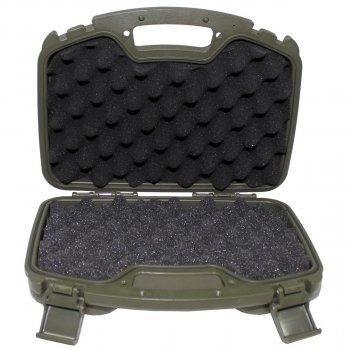 Кейс для пістолета пластиковий із застібками великий темно-зелений (олива) MFH (27170B)