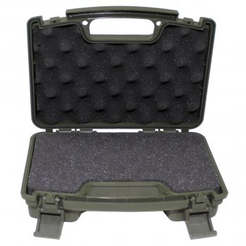 Кейс для пістолета пластиковий із застібками малий темно-зелений (олива) MFH (27169B)