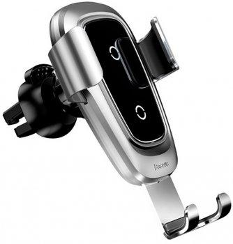 Зарядний пристрій Baseus Metal Wireless Charger Gravity Car Mount Silver (WXYL-B0S)