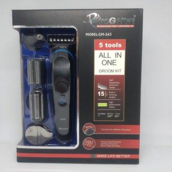 Машинка акумуляторна для стрижки волосся, гоління бороди носа вух 5 в 1 Gemei GM-563 (zhb0138)
