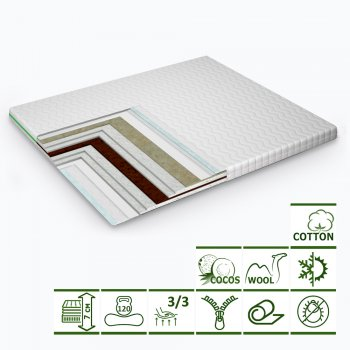 Тонкий матрас-топпер Green Streem Ultra Cocos 140х200 см (02022020-23-15) (2020231402006)