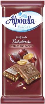 Шоколад Alpinella Bakaliowa молочний з горіхом і родзинками 90 г