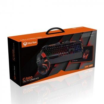 Комплект ігрової провідний 4 в 1 Meetion MT-C500 Клавіатура, миша, навушники, килимок, ENG розкладка Black