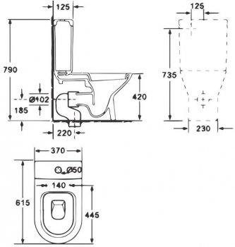 Унітаз-компакт PRIMERA Prime 8690020 безобідковий з бачком і сидінням Soft Close дюропласт