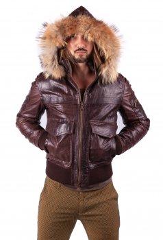 Куртка шкіряна D'ARIENZO 274 01 Темно-коричнева