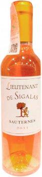 Вино Lieutenant De Sigalas 2011 Sauternes белое сухое 0.375 л 13% (3450301159681)