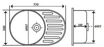 Кухонна мийка LIDZ 7750 Satin 0.6 мм (LIDZ775006SAT)