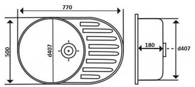 Кухонна мийка LIDZ 7750 Decor 0.8 мм (LIDZ7750DEC)