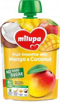 Упаковка фруктового пюре Milupa Яблуко, банан, манго, кокос від 6 місяців 80 г х 6 шт. (6438091414149)