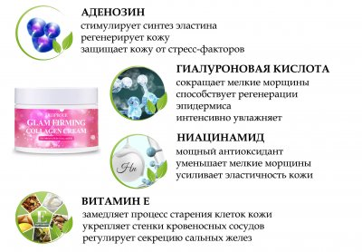 Подтягивающий крем для лица Deoproce Moisture Glam Firming Collagen Cream с морским коллагеном, гиалуроновой кислотой и ниациномидом 100 мл (8809240769522)