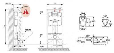 Комплект Roca: Інсталяційна система (з клавішею змиву) + підвісний унітаз Victoria