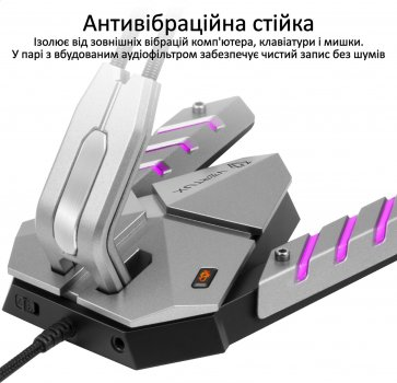 Мікрофон Vertux Streamer-3 LED, USB Grey (streamer-3.grey)