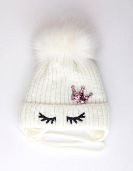Дитяча зимова шапка Корона молочний 48-52 см. Alex