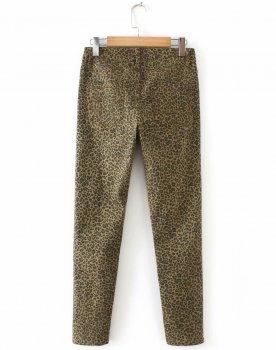 Джинсы женские стрейчевые с ассиметричным краем Leopard Berni Fashion Коричневый (55835)
