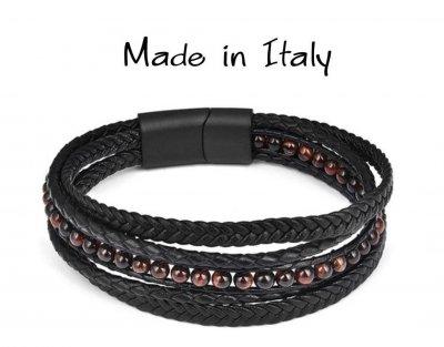 """Браслет """"Made in Italy"""" многослойный кожаный браслет с коричневыми бусинами из натурального камня 18,5 см чёрный"""