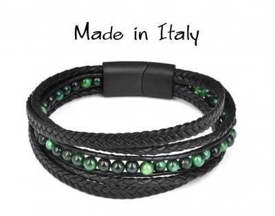 """Браслет """"Made in Italy"""" многослойный кожаный браслет с зелеными бусинами из натурального камня 22 см чёрный"""