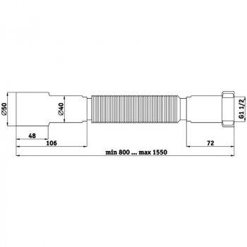 """Гибкая труба для сифона ANI Plast К116 с накидной гайкой 1 1/2"""""""