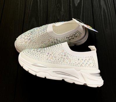 Кросівки-шкарпетки для дівчинки Сонце Стрази білий 402
