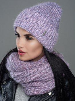Женская Шапка Leks-Jolie Норма комплект Размер (53-57) Цвет (светло-фиолетовый)