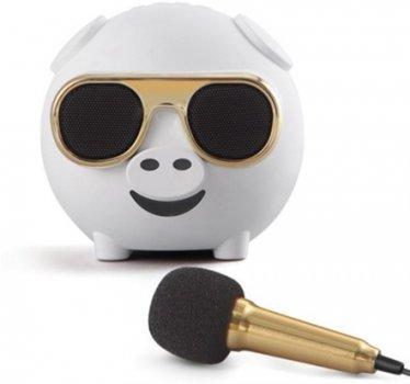 Портативная колонка-поросенок UTG-T с функцией караоке и и микрофоном М60 White (4820176245816)
