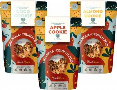 Упаковка гранолы-кранч микс Muesli Mania Apple Cookie 90 г + Almond Cookie 90 г + Coco Cookie 90 г (MIX-CAA-192633)