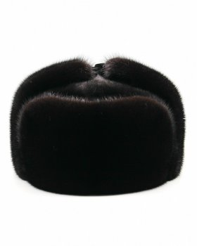 "Норкова хутряна шапка чоловіча вушанка повністю з хутра VECONS ""Класична"" One size чорна"