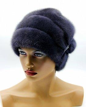 """Жіноча шапка з хутра норки VECONS """"Буратіно класик"""" One size графіт"""