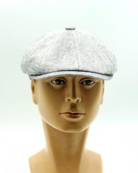 Річна кепка восьмиклинка з льону VECONS One size сіра