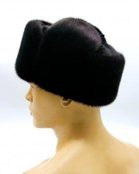 """Норковая мужская меховая шапка ушанка комбинированная с замшей VECONS """"Классическая"""" One size черная"""