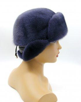 "Жіноча норкова шапка VECONS ""Лобик короткий вухо"" One size графіт"