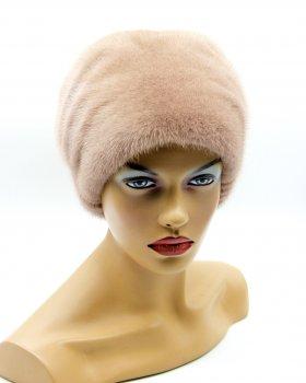 """Меховая женская шапка VECONS """"Козачек с довязом"""" One size пудра"""