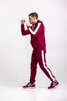 Спортивный костюм мужской с лампасами теплый WB размер (WB Shop) бордовый