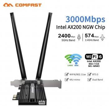 Сетевая карта COMFAST CF-AX200 Pro PCI-E 3000Mbps WiFi 6 + Bluetooth 5.0 Intel AX200 5Ghz