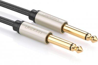 Інструментальний кабель Ugreen AV128 6.3 мм to 6.3 мм Audio Cable Braided 3 м Gray (90402017)