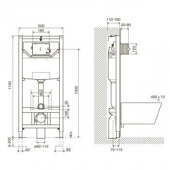 Инсталляция 3 в 1 IMPRESE i8120 + унитаз VOLLE Amadeus 13-06R-055 с сиденьем Slim Soft Close