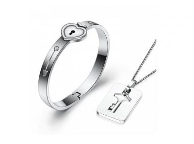 Пара ювелирных изделий кулон Ключ и браслет Сердце из нержавеющей стали NoName Jewelry (247)
