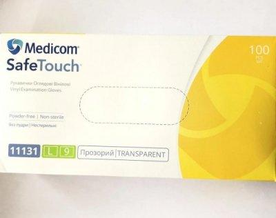 Одноразові рукавички вінілові без пудри нестерильні Medicom Safe Touch Розмір L Прозорі