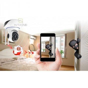Беспроводная веб камера Онлайн с наклоном и панорамированием Видеоняня с инфракрасной подсветкой Поворотная камера видеонаблюдения с микрофоном и обратной связью WiFi Smart Camera Ночной режим 355° для квартиры дома и офиса, Белая