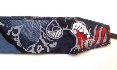 Кистевые бинты на запястье Strength Wraps Синий узор (пара) для кроссфита