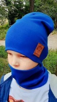 Детская шапка с хомутом КАНТА размер 52-56 Голубой (OC-139)