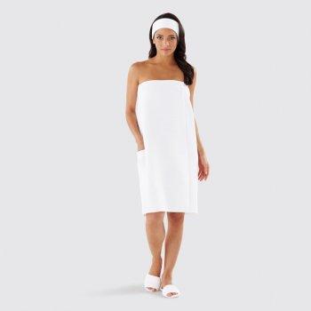Вафельное парео женское на липучке Luxyart размер универсальный Белый (LS-034)