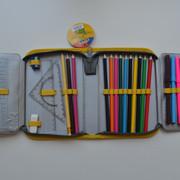 """Пенал CLASS """"Robowars"""", 1 отделение, 2 отворота, серый с желтым, с наполнением, 97253"""
