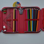 """Пенал CLASS """"Lovely Рets"""", 1 отделение, 2 отворота, серый с красным, с наполнением, 97248"""