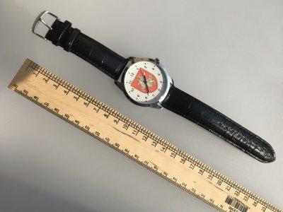 Часы мужские наручные герб Республика Беларусь, черный ремешок