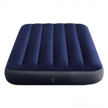 Надувной матрас Intex 64758-2 Полуторный 191x137x25 см с насосом 2-я подушками Синий