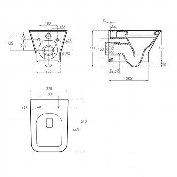 Інсталяція VOLLE Master Neo 201010 + унітаз Leon Rectangular 13-11-160 з сидінням Slim Soft Close дюропластів