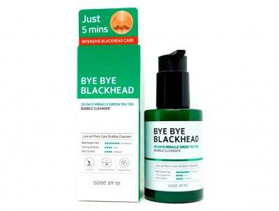 Кислородная маска-пенка для лица от чёрных точек Some By Mi Bye Bye Blackhead 30 Days Miracle Green Tea Tox Bubble Cleanser, 120мл (8809647390244)