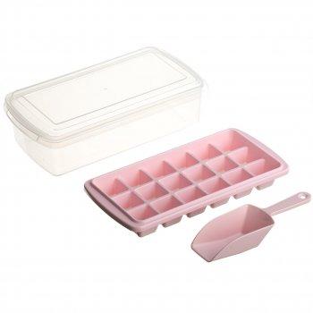 Форма для льоду з контейнером і лопаткою STENSON 26 х 13см (82592) Рожевий