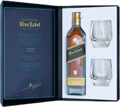 Виски Johnnie Walker Blue label выдержка 25 лет 0.7 л 40% в подарочной упаковке с 2-мя стаканами (5000267180946)