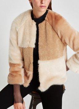 Полушубок жіночий з комбінованого штучного хутра Fox Berni Fashion Бежевий (55629)